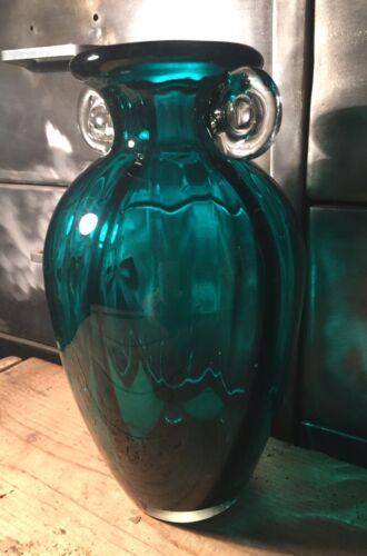 Vase verre soufflé ansé bleu canard h 24,5 cm