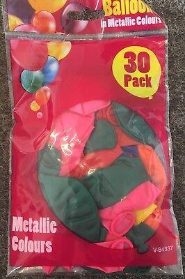 WHOLESALE 33 x 30 Pack Metallic Balloons Fun Party Bargain Various Colours