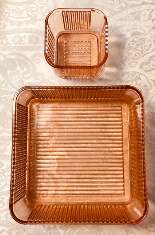 VTG 1930s Pink Ribbed Glass Refrigerator Dishes No Lids