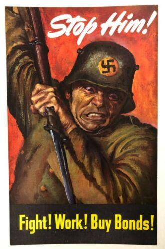 WWII WW2 Original War Poster Stop Him Fight Work Buy Bonds Army Soldier Horror