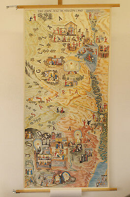 Wall Map Life Jesus in the Saints Country New Testament 59x121cm ~ 1960 Vintage