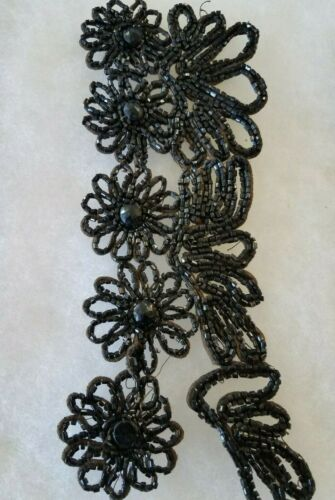 ANTIQUE BLACK MOURNING BEAD CUFFS