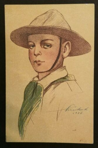 1926 Mint Vintage Hungary Boy Scouts Hand Drawn Portrait Illustrated Postcard