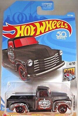 2018 Hot Wheels #327 HW Metro 4/10 '52 CHEVY Pickup Flat Black w/Black MC5 Spoke](Hot Black Cop)