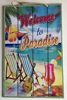 WELCOME TO PARADISE Tiki Bar Sign Wall Island Beach Drinks Decoration Palm Tree