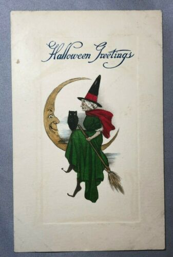 1910 HALLOWEEN Owl WITCH Broomstick CRESCENT MOON Antique POSTCARD HAND COLORED