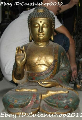 "24"" Cloisonne Purple Bronze Gold Gild Sakyamuni Shakyamuni Buddha statues"