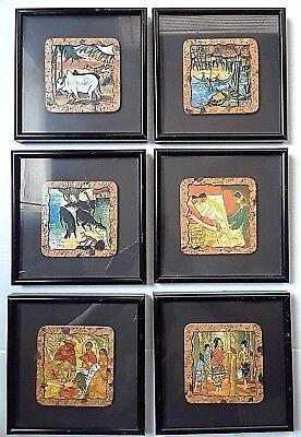 Vintage Set of 6 Unique Malaysian Cork Coasters, Custom Framed ,Black with (Custom Frame Malaysia)