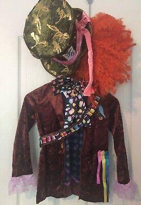 Disney Mad Hatter Deluxe Child Costume with Orange Wig - Sz M - Orange Mad Hatter Kostüm