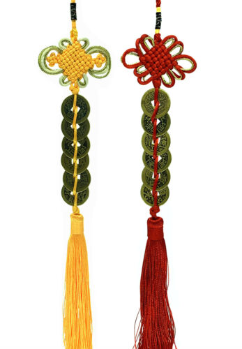 Feng Shui Handmade 6 Brass Chinese Ancient Coins Hanging Charm Tassel Amulet