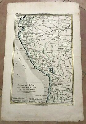 PERU 1780 BY RIGOBERT BONNE ANTIQUE ENGRAVED MAP IN COLORS 18TH CENTURY
