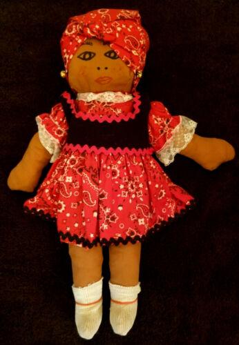 Vintage Cloth Pretty Lady Black Bahamas Island Girl Doll Earrings Handmade