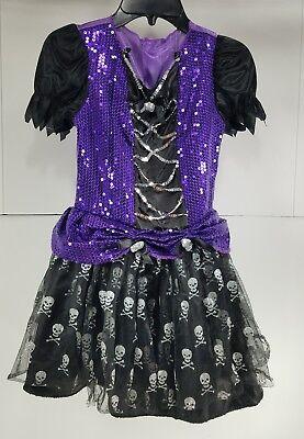 Pre Owned Little Girls Gothic Dress W  Skulls Halloween Costume Vampire Witch T2 - Little Girl Vampire Costume