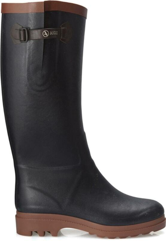 AIGLE AIGLENTINE FUR Ladies Adjustable Tall Warm Rubber Wellington Boots Marine