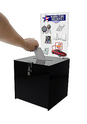 10 X 10 Locking Ballot Box With Removable Header Contest Cube Suggestion Boxes