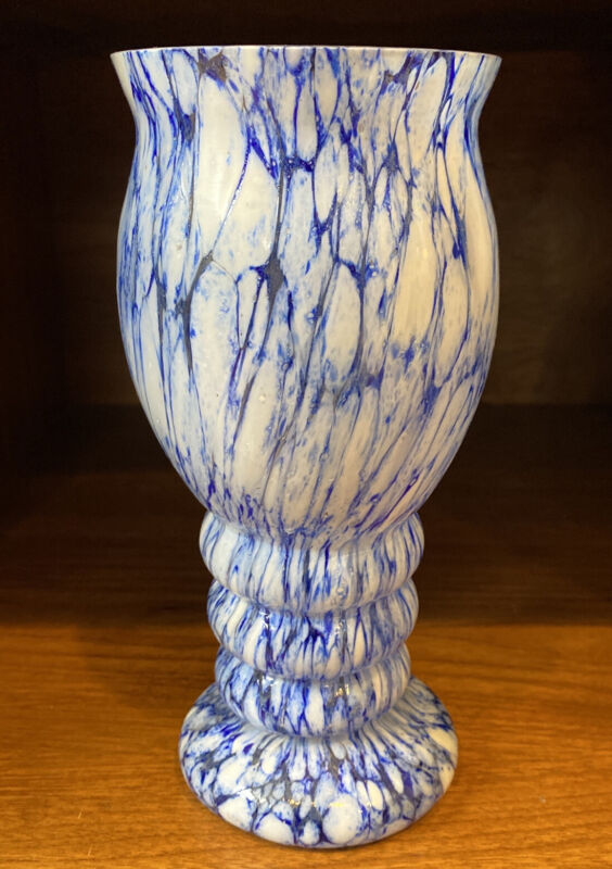 Czech  Kralik Cobalt  Blue & White End Of Day Spatter Vase