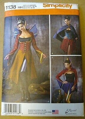 Simplicity 1138 Dark Faerie Elf Princess Halloween Costume Pattern Sz 6-8-10-12