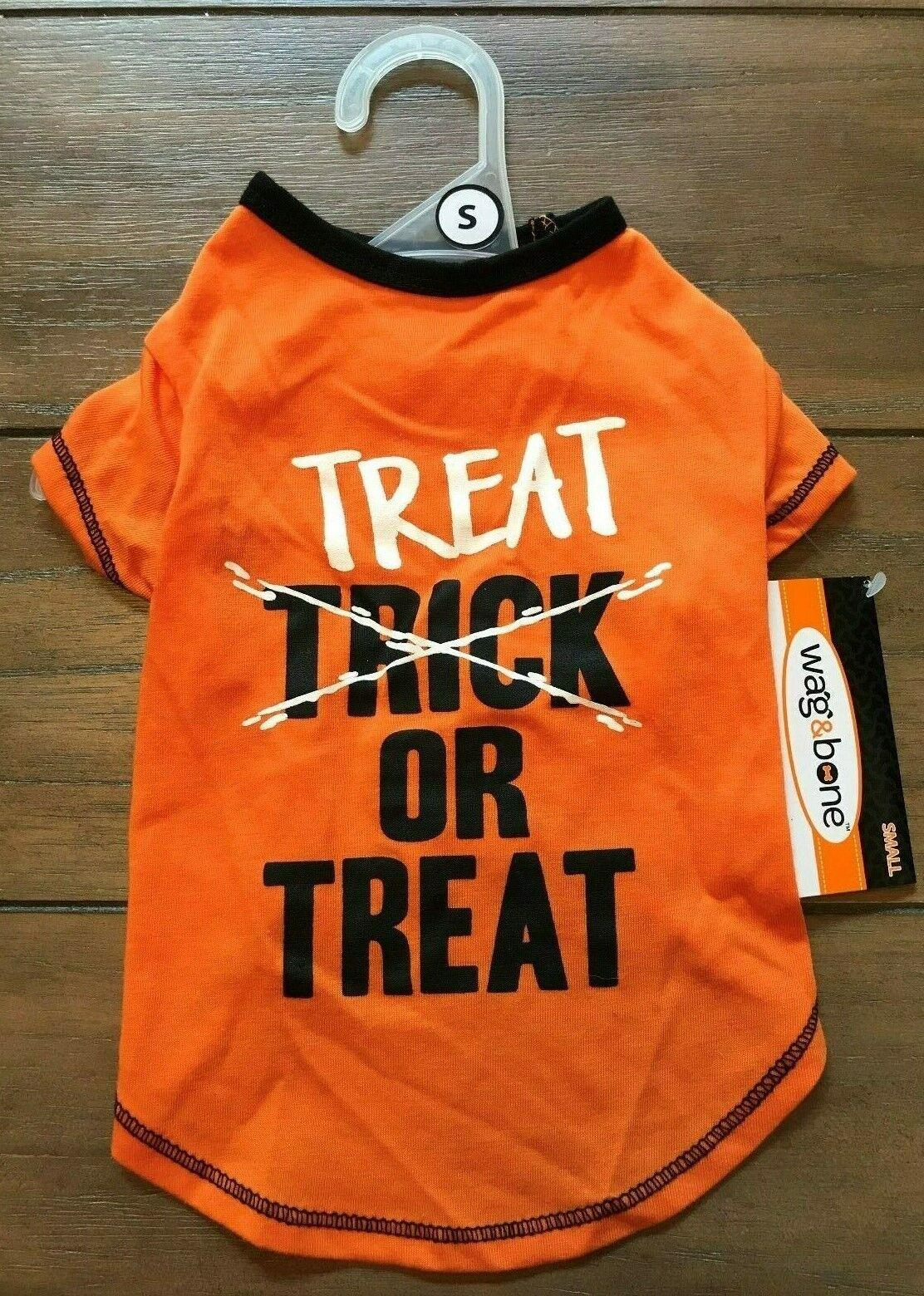TREAT Or TREAT Dog Shirt - SMALL - Orange/Black - Halloween - Wag Bone - NWT - $10.99