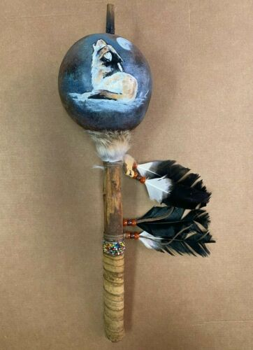 HAND PAINTED DANCE GOURD RATTLE ,CEREMONIAL ,SANTA FE STYLE ,NATURAL , WOLF 02