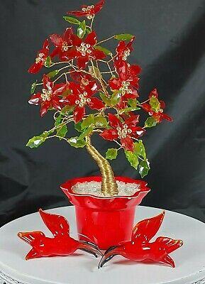 Vtg Christmas Tree Red Glass Poinsettia Copper Wrapped Plus 2 Art Glass Birds