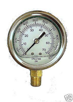 New Liquid Filled Hydraulic Pressure Gauge 0 - 5000 Psi