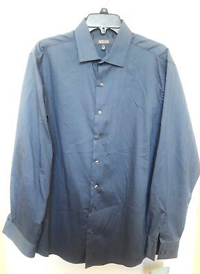 Kenneth Cole Reaction Metal Grey Long Sleeve Wrinkle Free Dress Shirt 16 34/35