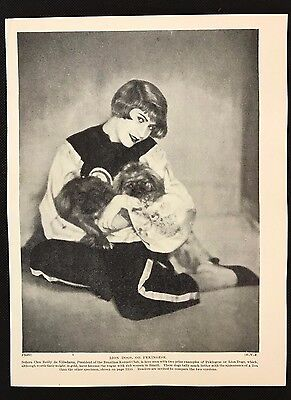 1934 Dog Print / Bookplate - PEKINGESE, Lady President Brazilian Kennel Club