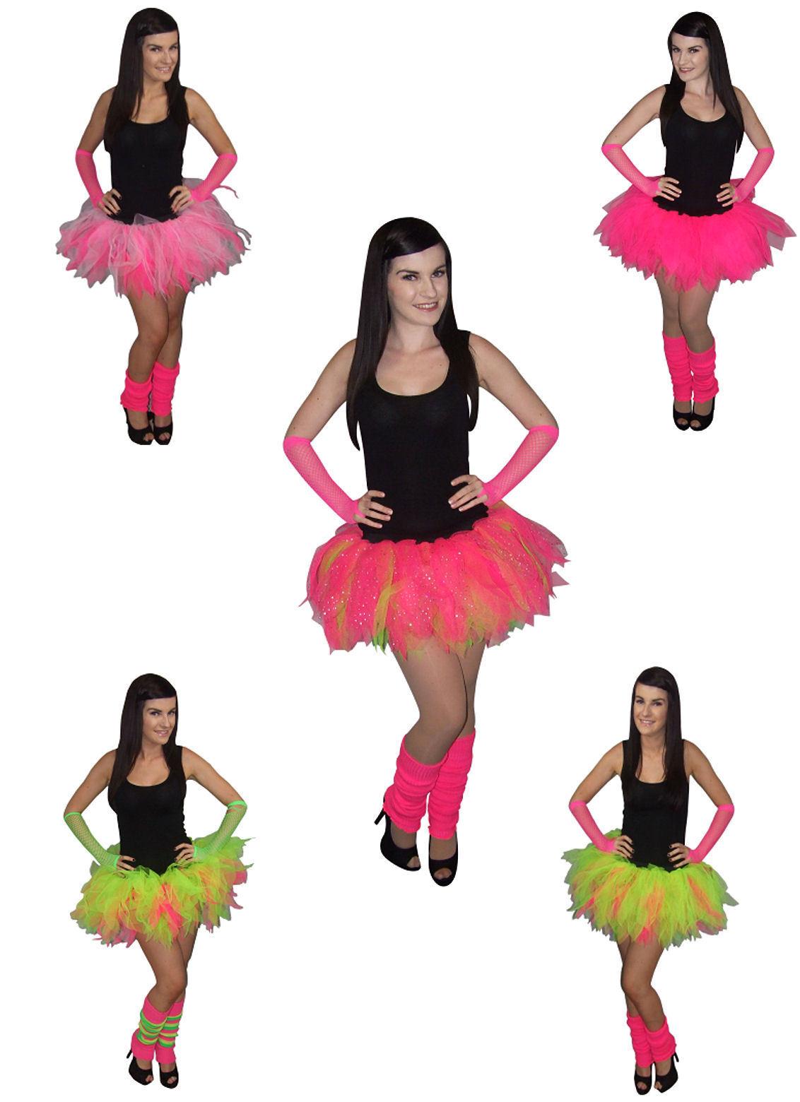 neon pink tutu skirt i love 80s fancy dress hen party fun