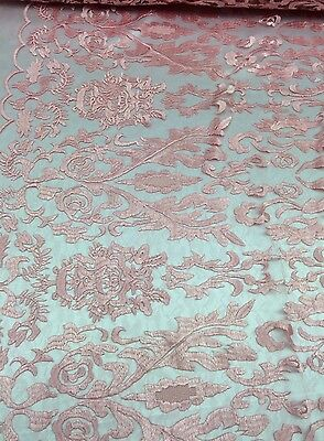 Modern Lace Damask (Pink Hollywood Damask 2 Way Stretch Modern Lace Fabric Sold By The Yard )
