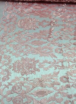 Pink Hollywood Damask 2 Way Stretch Modern Lace Fabric Sold By The Yard](Pink Damask)