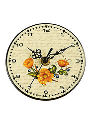ORANGE FLOWER WALL OR TABLE CERAMIC CLOCK  - BRAND NEW !!!!