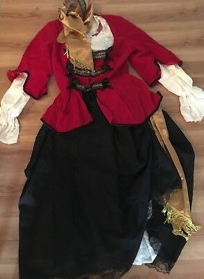 RUBIES Adult M Pirate Queen Deluxe 4Pc Red Velvet Jacket Skirt Top Headscarf - Red Pirate Jacket