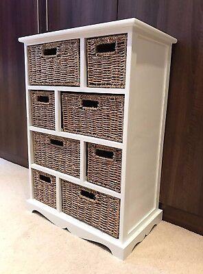 Brown Wicker Rattan Chest of Drawers Furniture White Bathroom Storage Unit ()