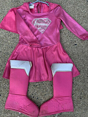 Girls Rubies Pink Super Girl Hero Costume Size