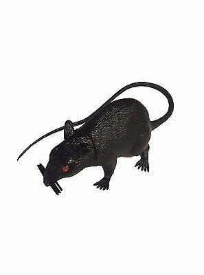 Black Rat Prop Realistic Size Halloween Big Large Mouse Decor Plastic Rubber