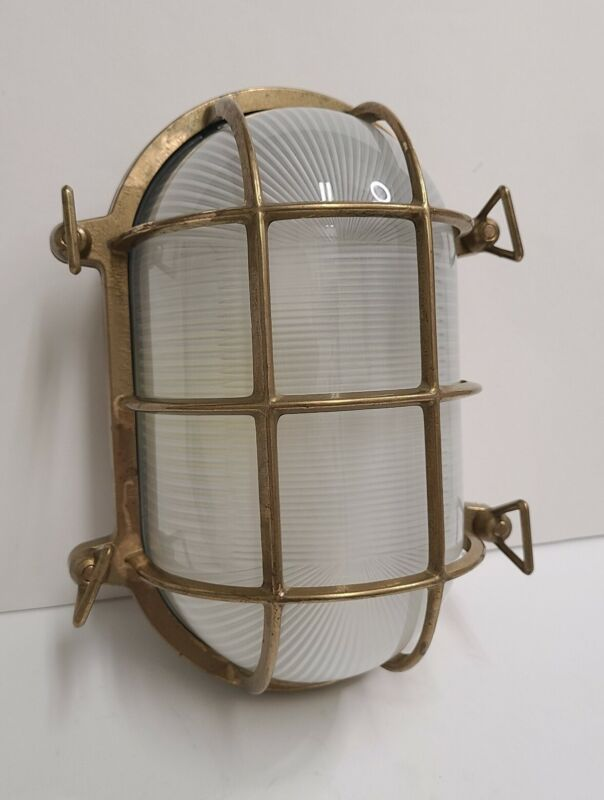 Nautical Brass Oval Light Cage Frosted Glass Maritime Ship Boat Lamp