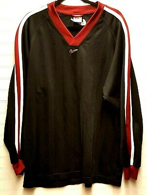 VINTAGE 90s NIKE Mens XL Black Stripes w/ Maroon & White Blank Soccer Jersey EUC