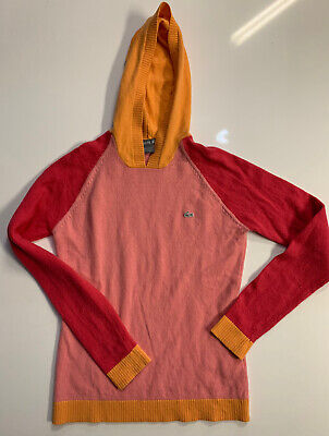 LACOSTE Women's Pink Red Yellow Long Sleeve Pullover Knit Hoodie Size 38