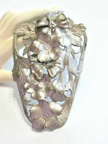 BIG VINTAGE FLORAL DRESS CLIP SILVER METAL LAYERED POPPY FLOWERS FANCY BACK R