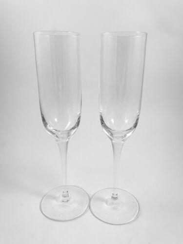 "Set of 2 TIFFANY & CO ""Hampton"" Champagne Flutes Glasses Excellent"