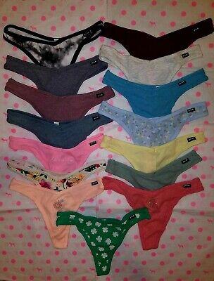 NWT Victoria's Secret PINK V-Cut Ribbed/Smooth Cotton Thong Panty - XS S M L XL!