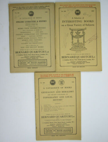 3 Vintage Book Store Catalogs from Bernard Quaritch Ltd of London 1948 1950 1951