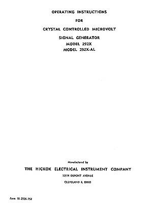 Hickok 292x 292x-a Crystal Controlled Signal Generator Manual And Calibration