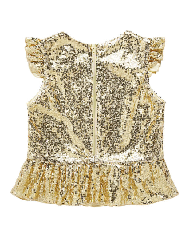 Kids Girls Mermaid Costume Sparkly Sequins Peplum Top Birthday Party Clothes Top