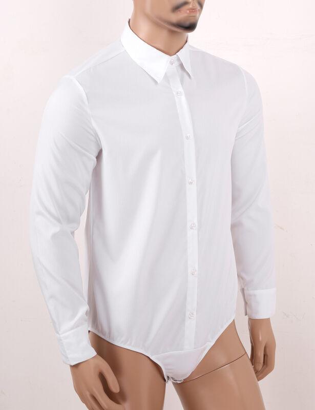 Männer Langarm Hemd-Body Business Bodybluse Hemdbluse mit Druckknöpfe im Schritt