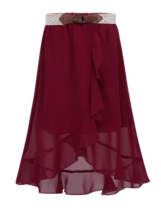 Summer Maxi Dress Size 8-16 Kids Girls Casual Party Long Skirt Asymmetrical Hem