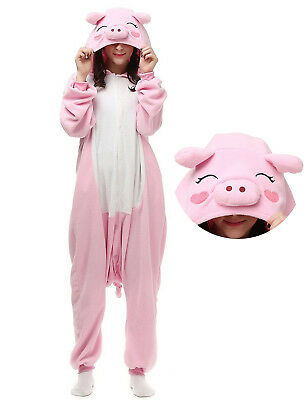 Adult Pink Pig Pajamas Onsies Unisex Kigurumi Animal Cosplay Halloween Costume