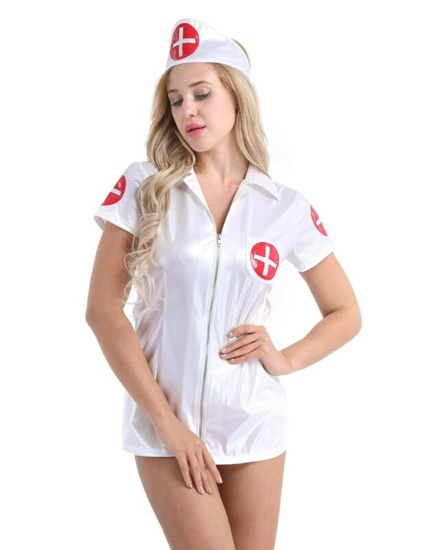 b06459566 Women s Leather Sexy Nurse Outfit Fancy Lingerie Dress Uniform ...