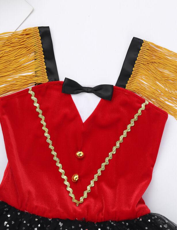MSemis Kids Girls Ringmaster Circus Costume Shiny Sequins Bowtie Halter Ballet Tutu Dress Leotard Dane Costume