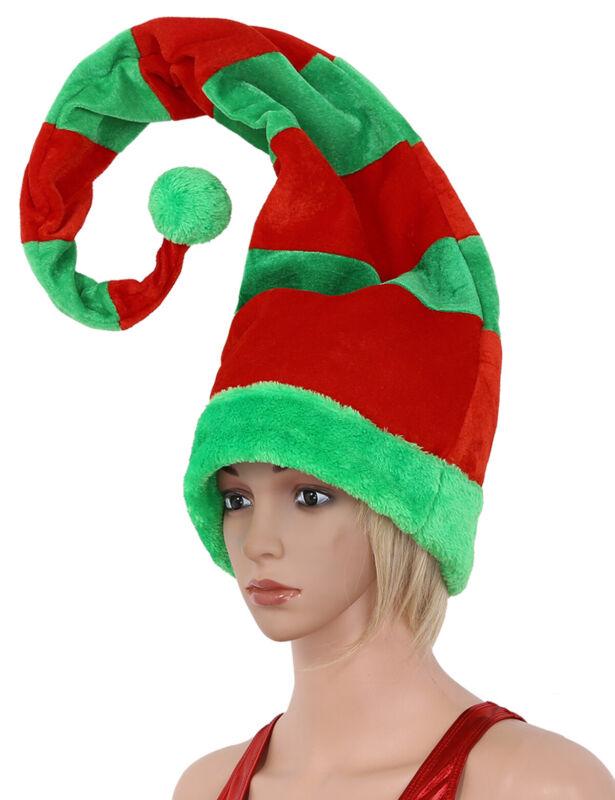 Christmas Hat Long Bendable Striped Felt Plush Santa Claus Clown Elf Cap 60cm